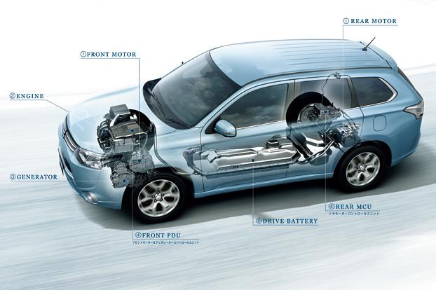 大容量の駆動用バッテリーや前後2つのモーター、そしてコントロールユニットなどを、車両床下や前後車軸周辺に効率的に配置。低い重心と理想的な前後重量配分を実現している。