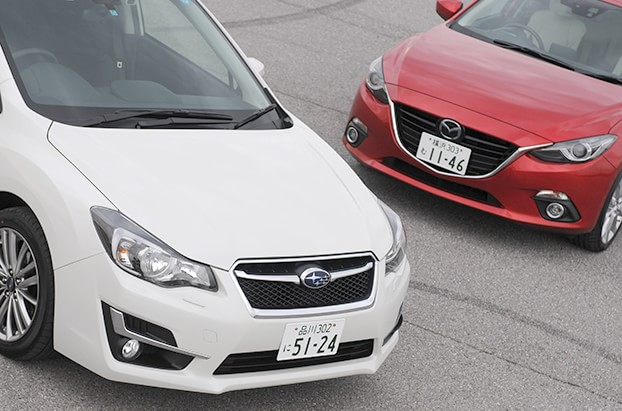 【左:インプレッサ、右:アクセラ】両車ともに乗れば瞬時に伝わるオーラと性能を有している