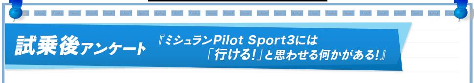 試乗後アンケート 『ミシュランPilot Sport3には「行ける!」と思わせる何かがある!』